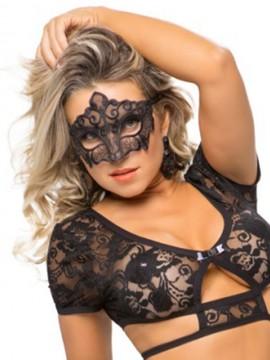 Masque sexy en tulle brodé - 8110